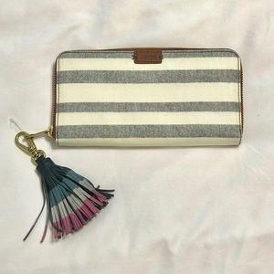 *NWT* Fossil Emma Blue Stripe Wallet